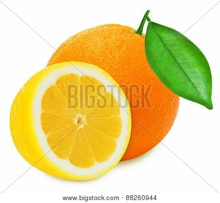 Juicy yellow lemon and orange on a white background isolated