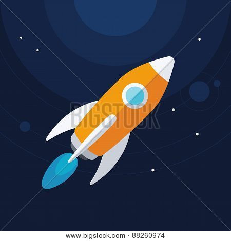 Flat designt rocket in the space