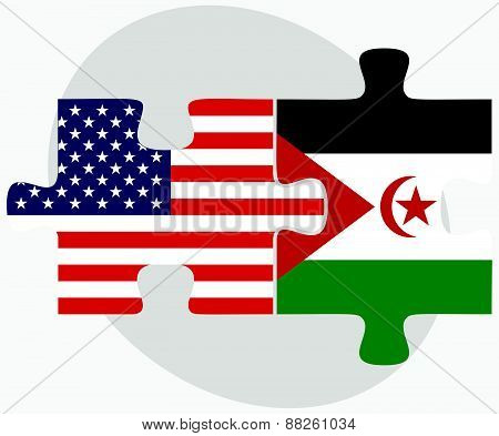 Usa And Western Sahara Flags In Puzzle