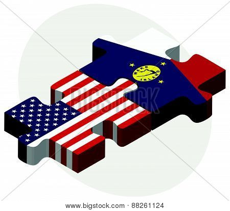 Usa And Wake Island Flags In Puzzle