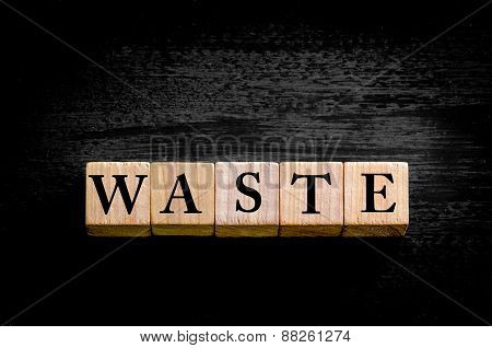 Word Waste  Isolated On Black Background