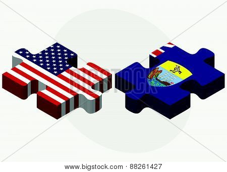 Usa And Saint Helena Flags In Puzzle