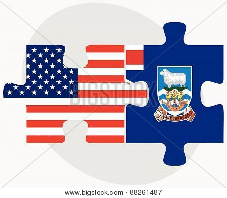 Usa And Falkland Islands Flags In Puzzle
