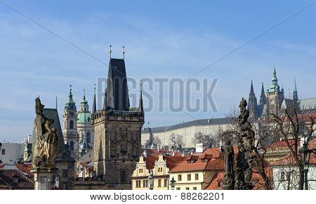 Panoramic View Toward Lesser Town Towers Of Charles Bridge, Prague.