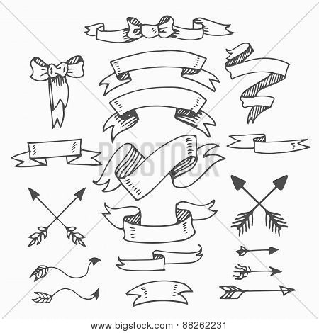 Set of Vintage Hand-Sketched Elements.Banners, Ribbons, Bows and