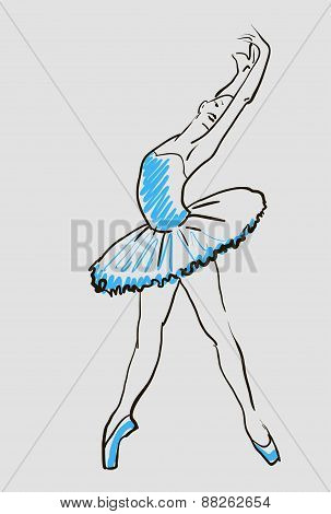 vector sketch of girls ballerina
