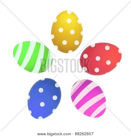 Colorful Easter Eggs Isolated On White