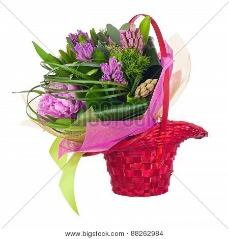 Bouquet Of Peonies, Hyacinths And Other Flowers In Wicker Basket.