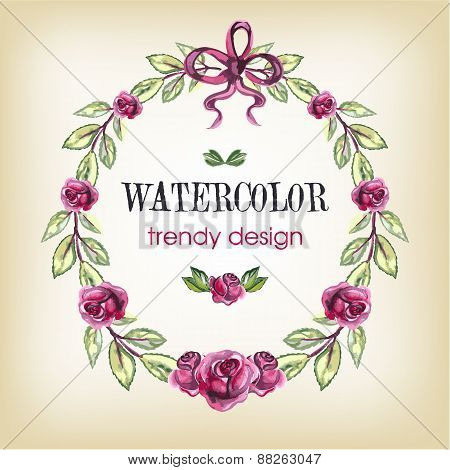 Rose Wreath.  Floral Trendy Design with Copy Space for Text.