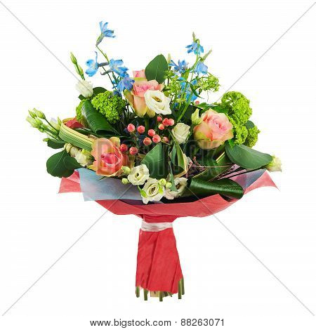 Flower Bouquet From Multi Colored Roses, Iris And Other Flowers.