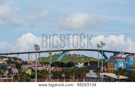 Massive Blue And Yellow Bridge Over Curacao