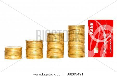 Columns Of Gold Coins And Golden Credit Card Isolated On White Background