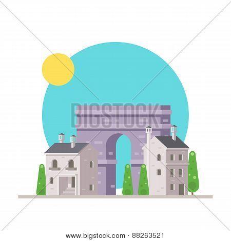 Flat Design Of Arc De Triomphe France With Village