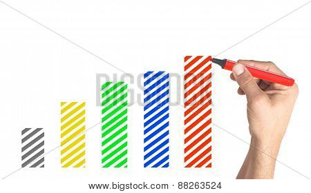 Hand Drawing Financial Graph With Colorful Markers On White