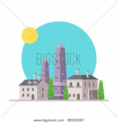Flat Design Of Luxor Obelisk France With Village