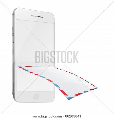 Post Envelope And Mobile Smart Phone Isolated On White Background.