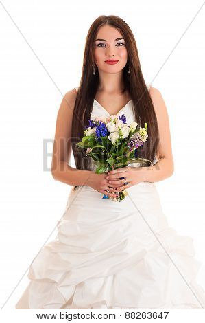 beautiful smiling woman in a wedding dress