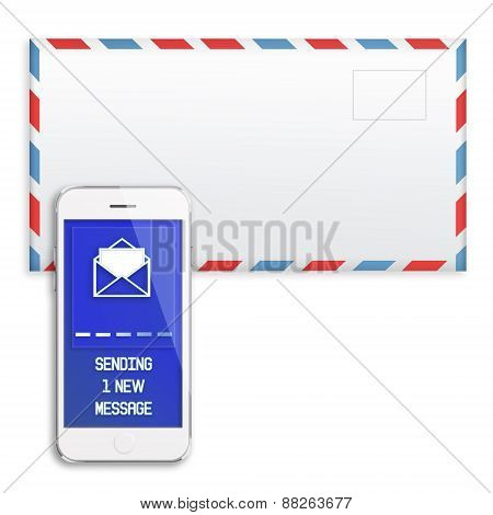 Post Envelope And Mobile Smart Phone.