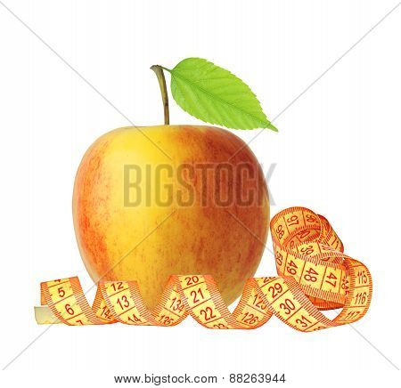 Red And Yellow Apple Fruit With Green Leaf And Measure Tape Isolated On White