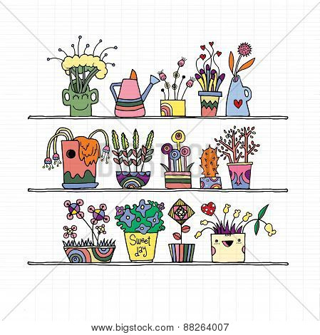 Hand Drawn Flowers In Pots, Doodle Set