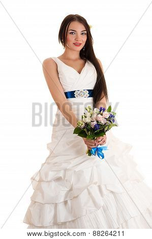 charming woman in a wedding dress