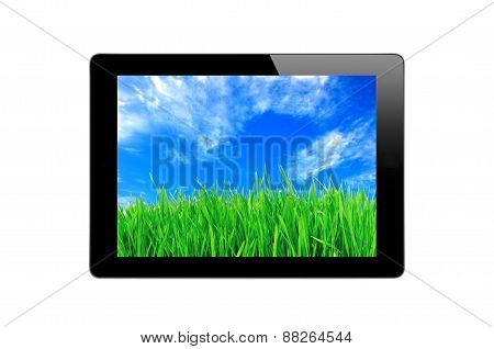 Black Touch Screen Tablet, Blue Sky And Green Grass