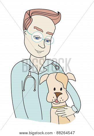 Dog And Veterinarian - Doodle Illustration.