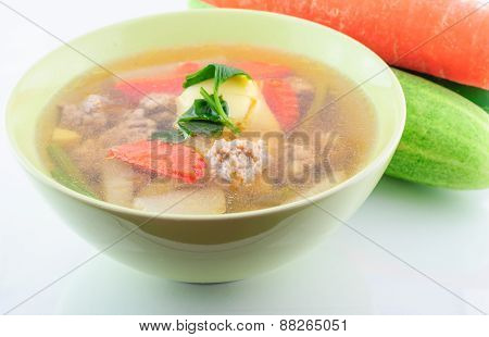 Clear Soup With Vegetables And Meatballs