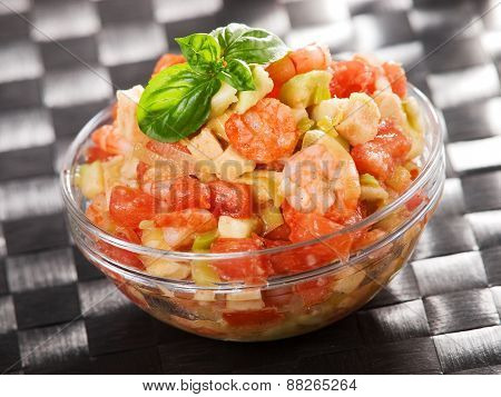 Tomato, Shrimps And Avocado Salad