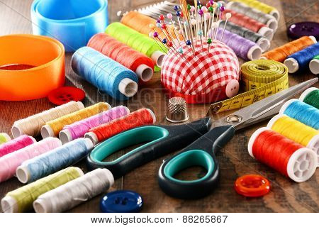 Composition With Tailor Accessories On Wooden Table