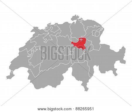 Map Of Switzerland With Flag Of Schwyz