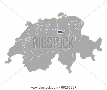 Map Of Switzerland With Flag Of Zug
