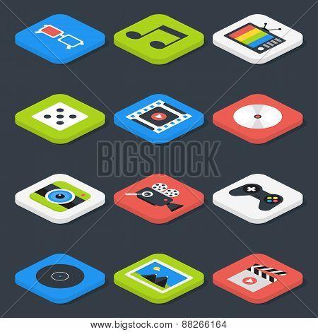 Flat Multimedia, Video, Audio Isometric Icons Set