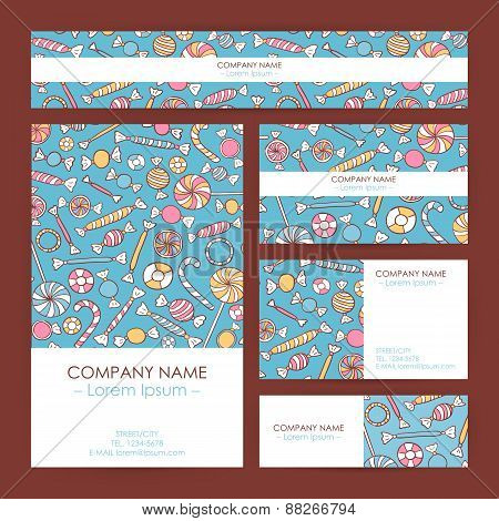 Vector Business Set Template With Hand Drawn Sweets