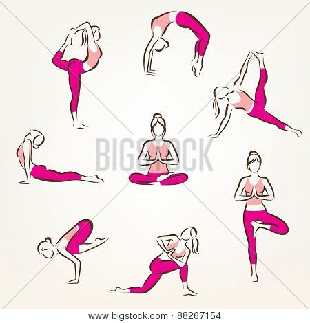 Set Of Yoga And Pilates Poses Symbols, Stylized Vector Symbols, Health Care And Fitness Concept