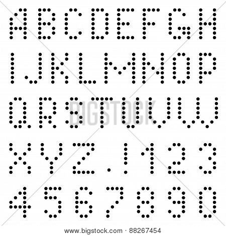 Letters and numbers of pixels.
