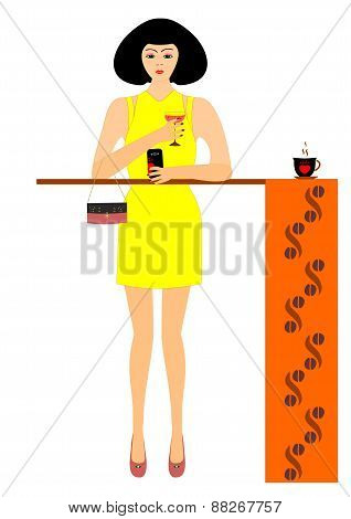 The girl in the cafe with a glass of wine