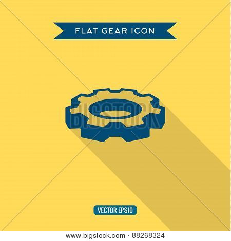 Icon volumetric gear in the flat with shadow, vector