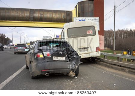 Moscow, Russia - April 19: The Car Accident On The Moscow Automobile Ring Road (mkad)