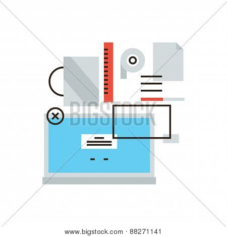 Office Desktop Items Line Icon Concept