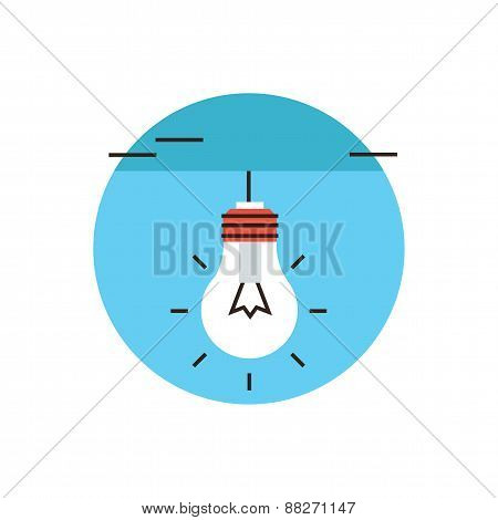 Electric Light Bulb Flat Line Icon Concept
