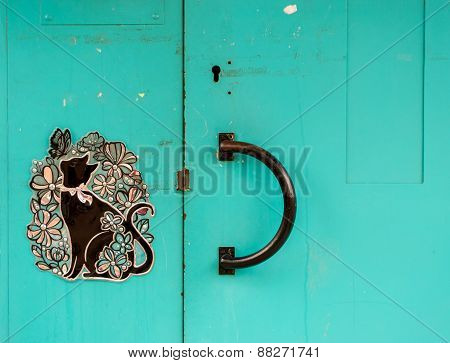 Blue Cat Handle Door