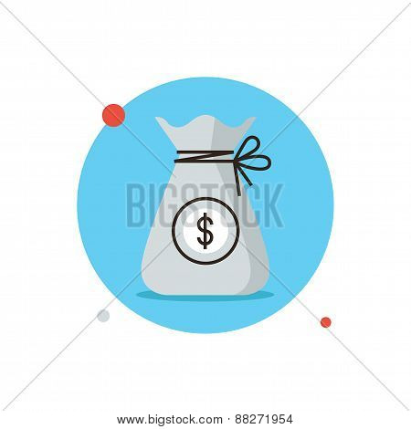 Bag Of Money Flat Line Icon Concept