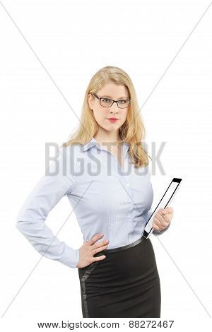 Beautiful blonde business woman with modern device