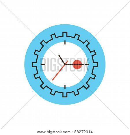 Time Management Flat Line Icon Concept