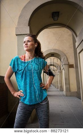 Portrait Of Fitness Woman Looking Into Distance