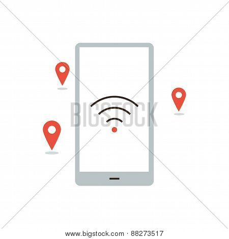 Wireless Hotspot Places Flat Line Icon Concept