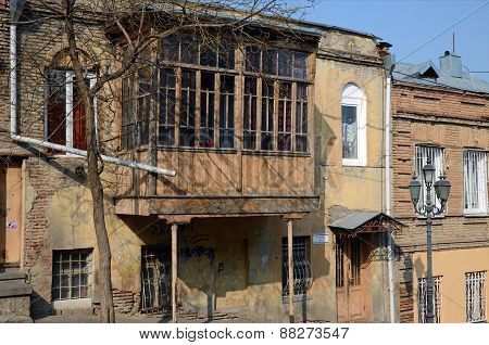 House with a traditional balcony in Tbilisi. Old city