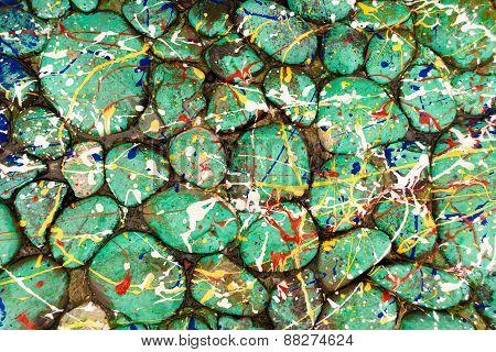 Green Paint Drop Stones