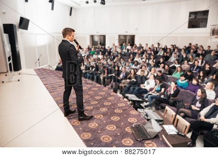 Speaker At Business Conference And Presentation. Audience